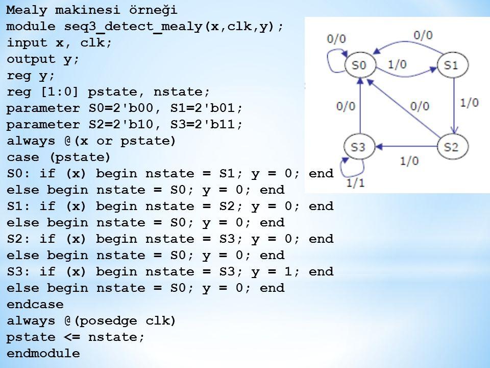 Mealy makinesi örneği module seq3_detect_mealy(x,clk,y); input x, clk; output y; reg y; reg [1:0] pstate, nstate;